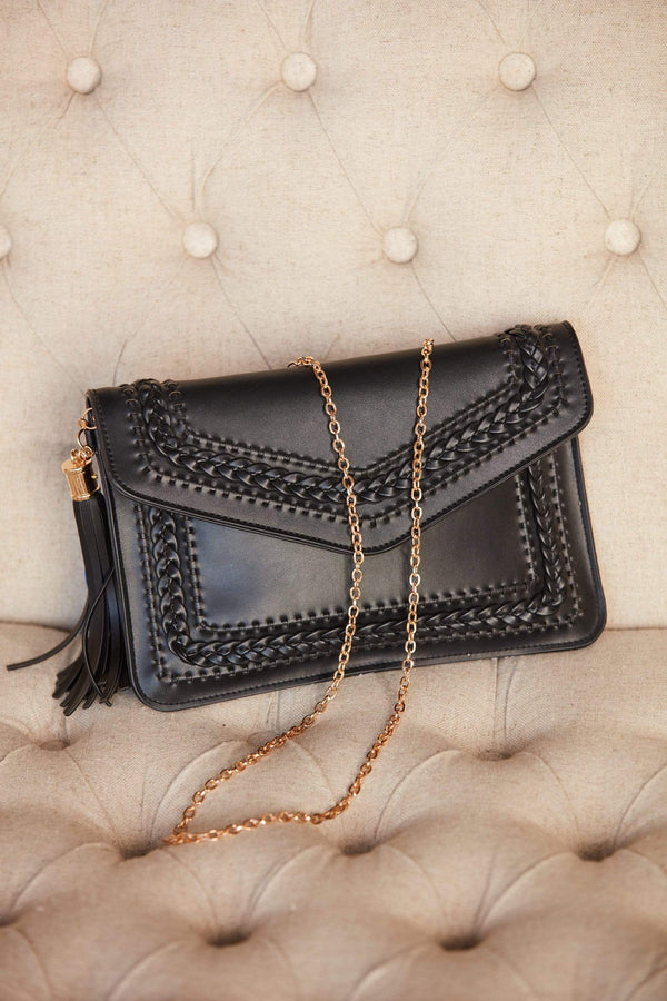 Black Braided Envelope Clutch + Crossbody