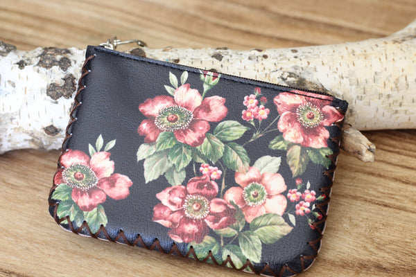 Black Floral Coin Purse