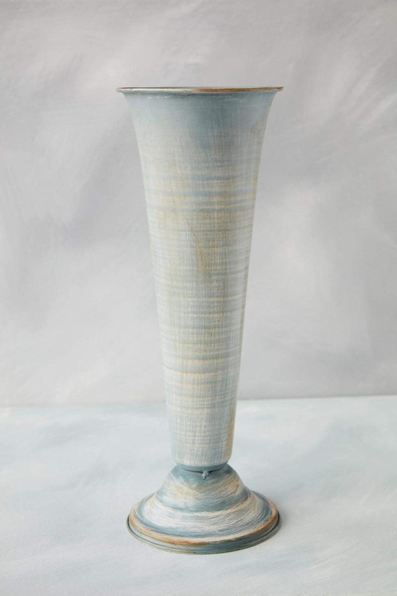 "14"" Soft Blue Metal Fluted Vase"