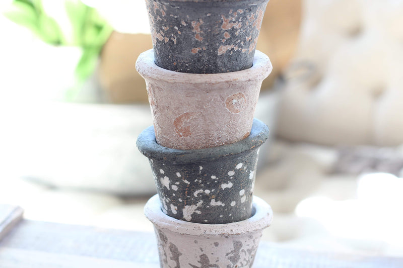 "4"" Dark Green Weathered Clay Pot"