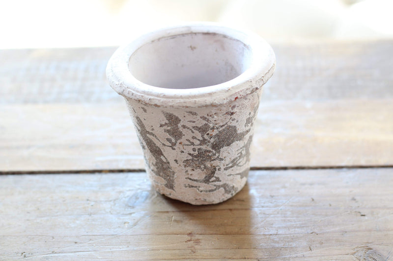 "4"" White Weathered Clay Pot"