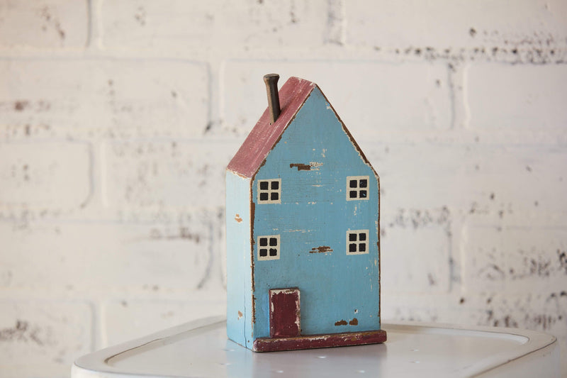 "10.5"" Sky Blue Painted Mango Wood House"
