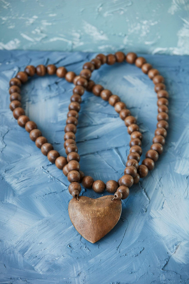 "36"" Hand Carved Heart Wood Bead Strand"