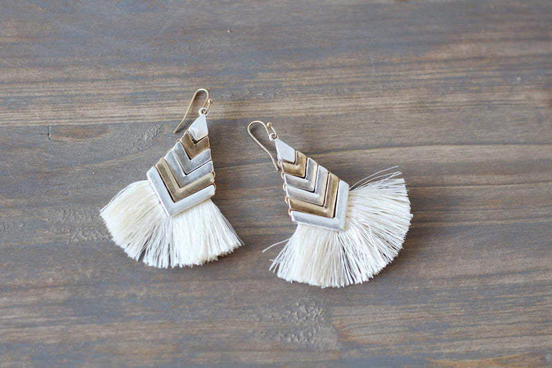 Two-Tone Silver and Gold Hammered Drape Tassel Earrings Costume Jewelry Fashion Accessories Womens Spring Summer Fashion and Style Earrings for Spring Wardrobe