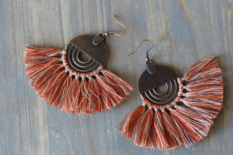 Dark Copper Orange-Toned Tassel Earrings