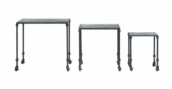 Metal Nesting Table with Casters