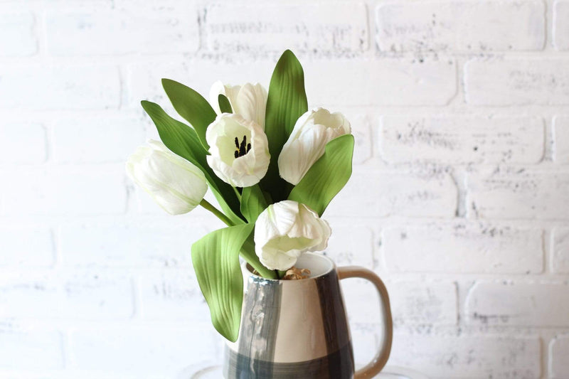 White Tulip Bundle Green Leaves Floral