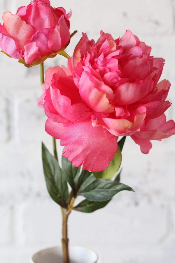 Bright pink peony spray faux floral artifical flowers