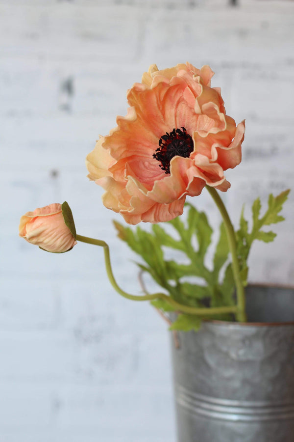 Faux artifical poppy foam leaves farmhouse colorful style