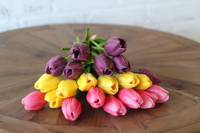 Spring and Easter Faux Florals Pink Tulip Floral Arrangement Real Touch Stems Real Touch Tulips