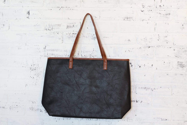 Faux Leather Black with Brown Trim Tote Bag Laptop Bag