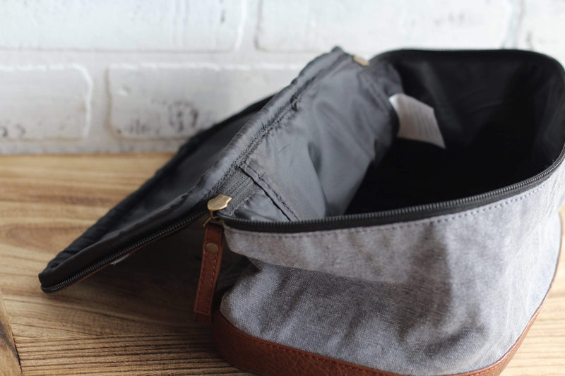 grey canvas recycled toiletry bag with faux leather accents