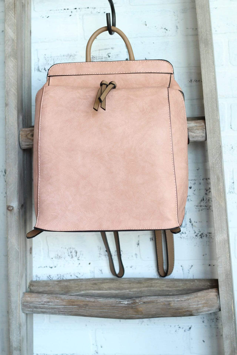Blush Faux Leather Backpack Brown Accents