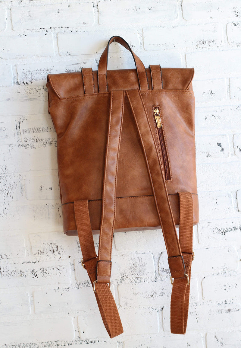 Brown Laser Cut Detail Backpack Purse