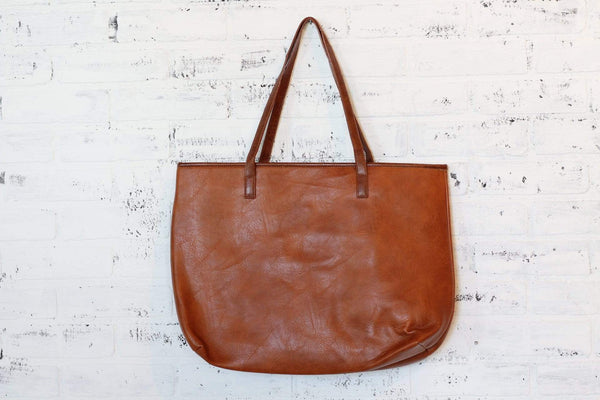 Faux Leather Brown Tote Bag Laptop Bag
