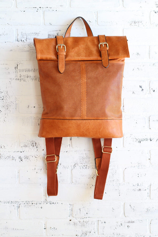 Cognac Laser Cut Detail Backpack Purse