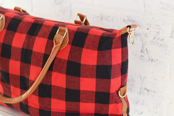 Red and Black Buffalo Plaid Weekender Bag