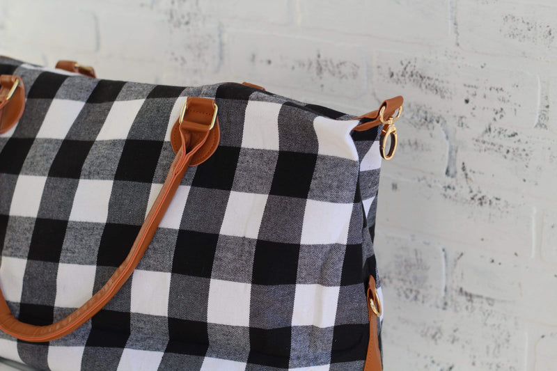 White and Black Buffalo Plaid Weekender Bag