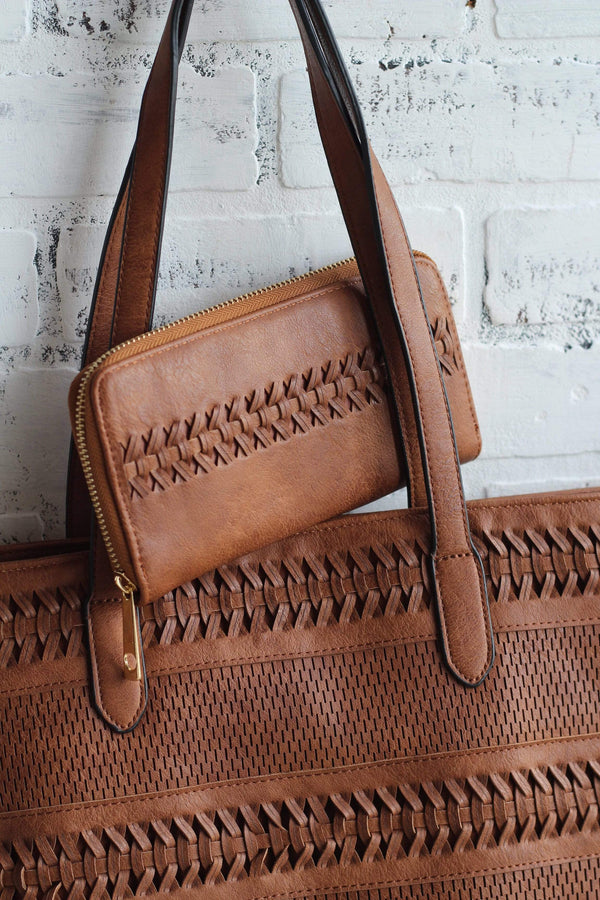 brown woven detail tote with wallet
