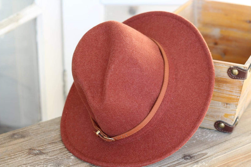 Rust Belted Panama Hat