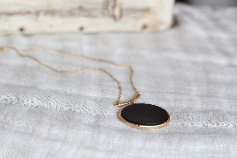 Black and Gold Bamboo Necklace Circle Minimalist
