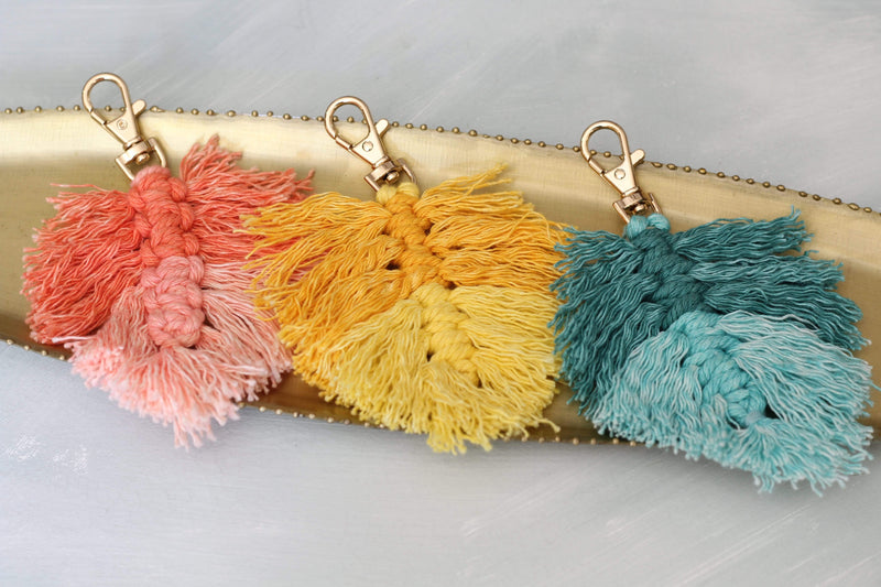 Coral Fringe Key Chain