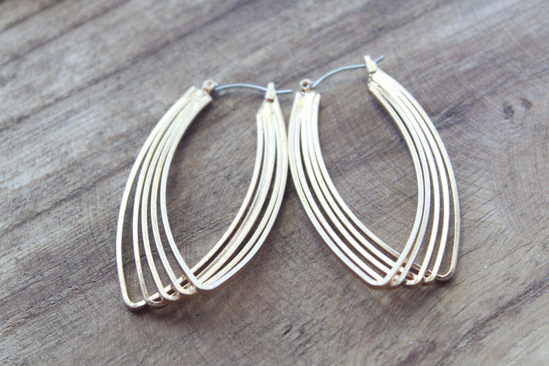 Gold Layered Oblong Hoop Earrings