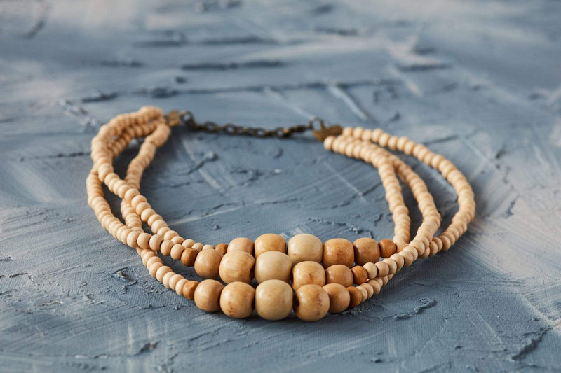 Layered Wood Beaded Necklace