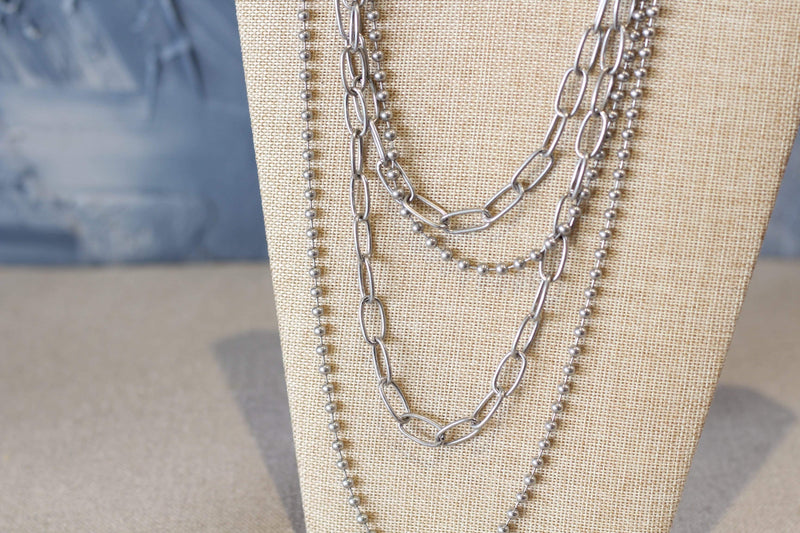 Worn silver multi layer chain necklace costume jewelry ball chain