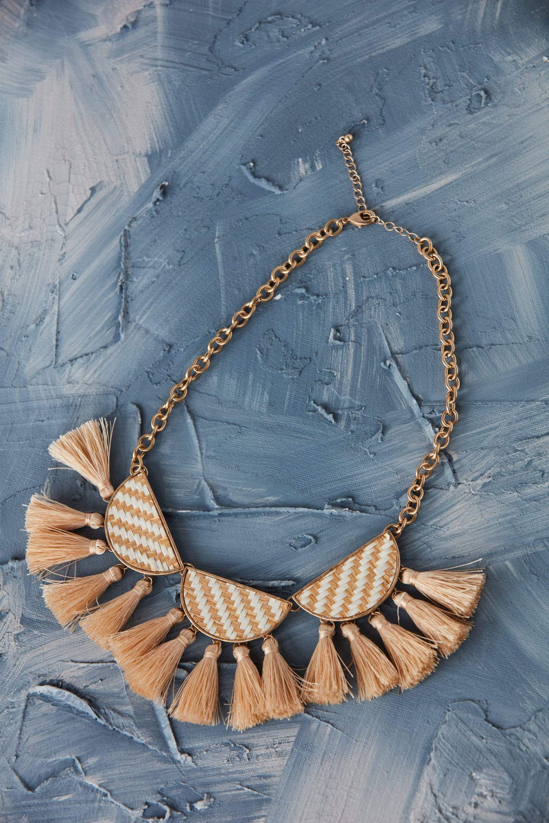 Natural and White Woven Statement Necklace with Tassels Gold Chain