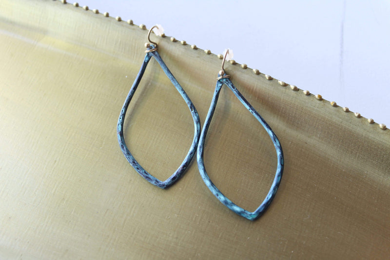 Patina Teardrop Earring with Gold