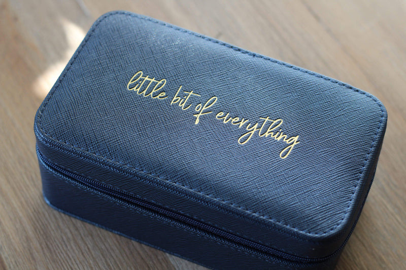 """Little Bit of Everything"" Navy Blue Gold Lettering Jewelry Travel Case"