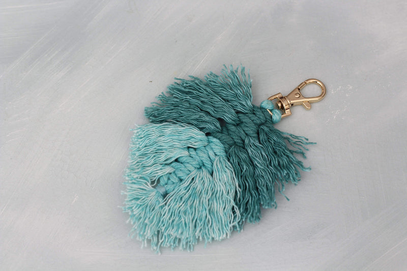 Teal Fringe Key Chain Two-Toned Gold Clasp