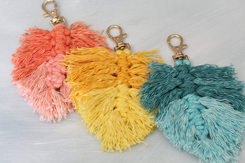 Teal Fringe Key Chain Two-Toned Gold Clasp Three Different Colors