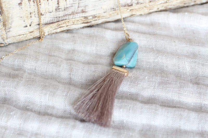 Turquoise + Taupe Tassel Necklace