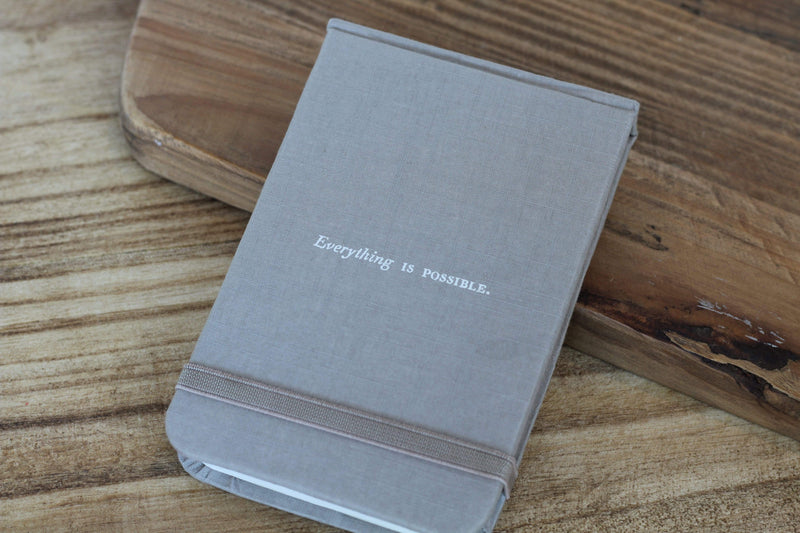 "Mini Fabric Notebook Grey and Light Purple ""Courage, Dear Heart"" ""Everything is Possible"""