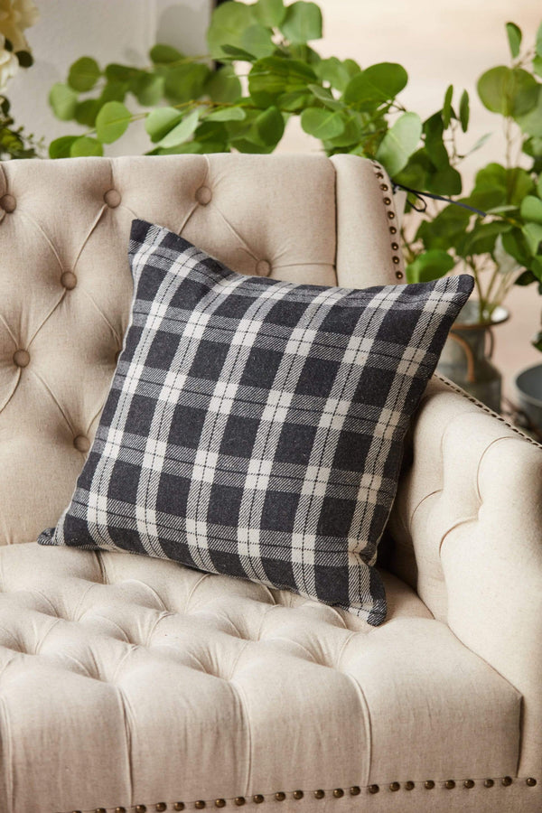 "18"" Black & Cream Plaid Pillow"