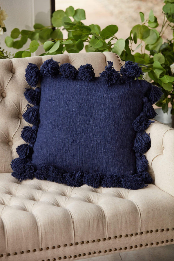"18"" Navy Cotton Slub Tassel Pillow"