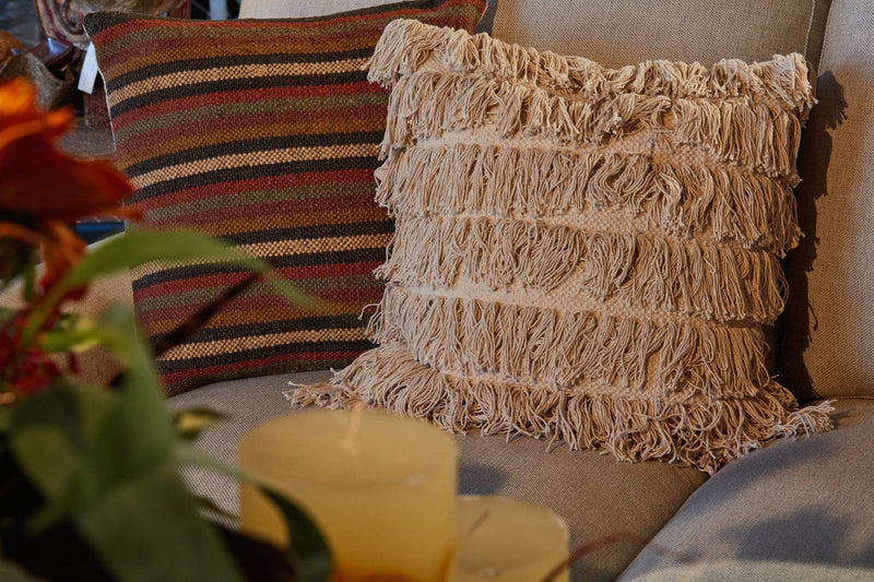 "18"" Shaggy Fringed Ivory Pillow"
