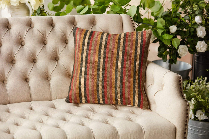 18x18 kilim striped  pillow earth tones accent texture