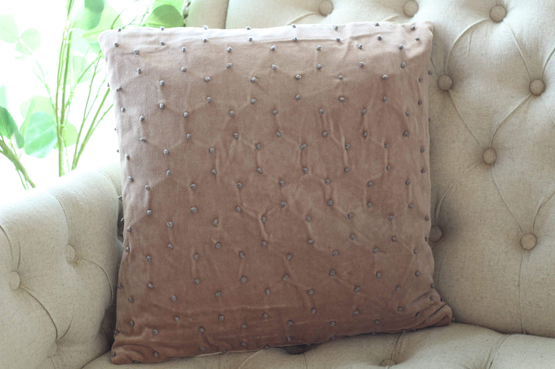 velvet light purple french knot pillow accent
