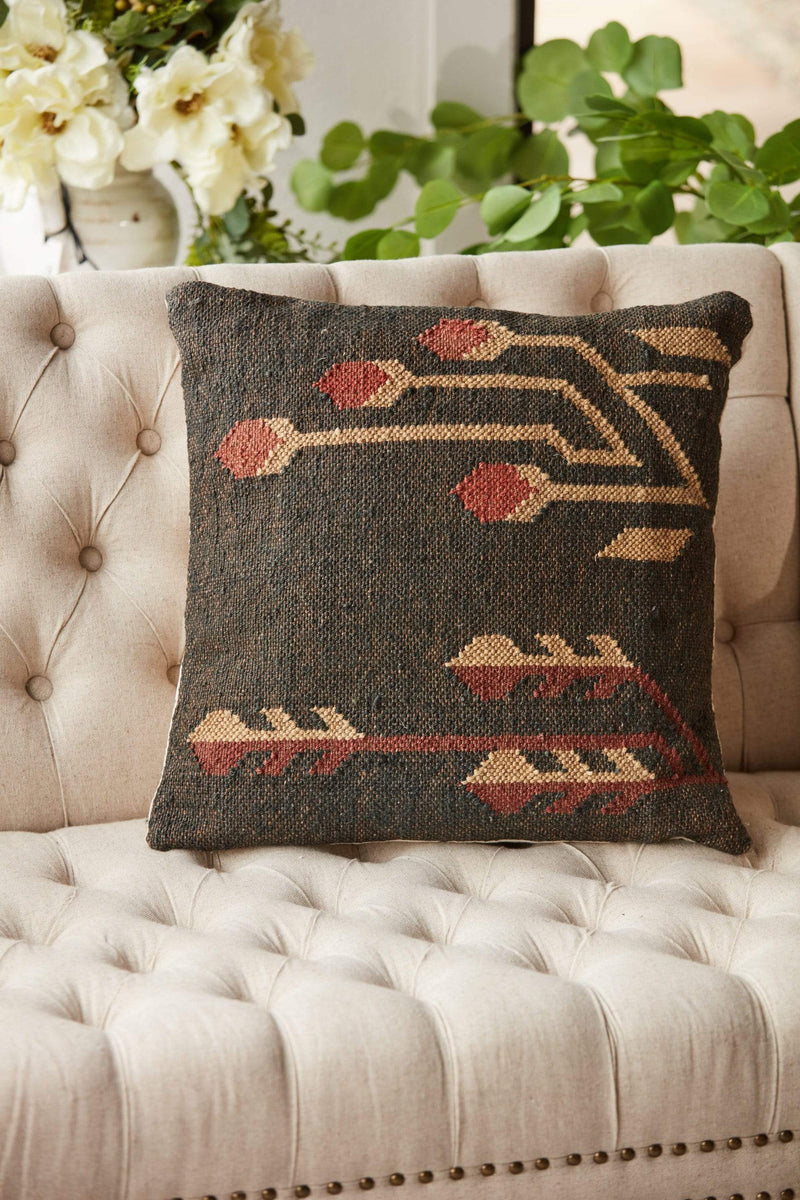 cream black and red kilim pillow faded accent pillow