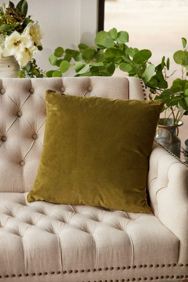 chartreuse velvet pillow with gold zipper accent linen-like back