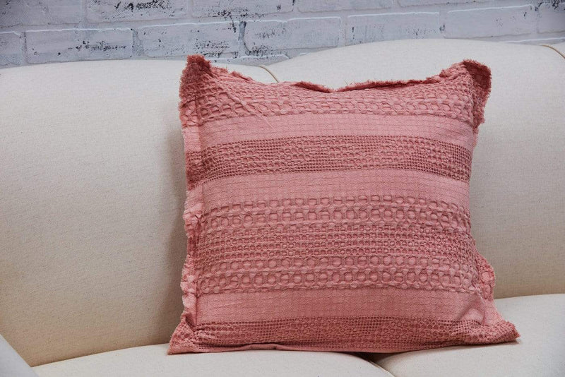 Faded Coral Waffle Weave Pillow Textured Throw Pillow