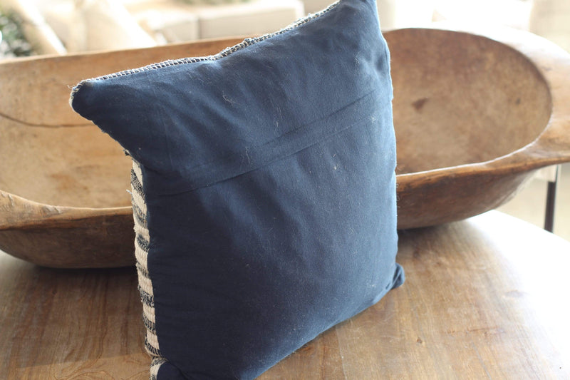Navy Blue Chindi Pillow, Home Decor Throw Pillow, Farmhouse Decor, Vintage Farmhouse Living Room, Country Chic