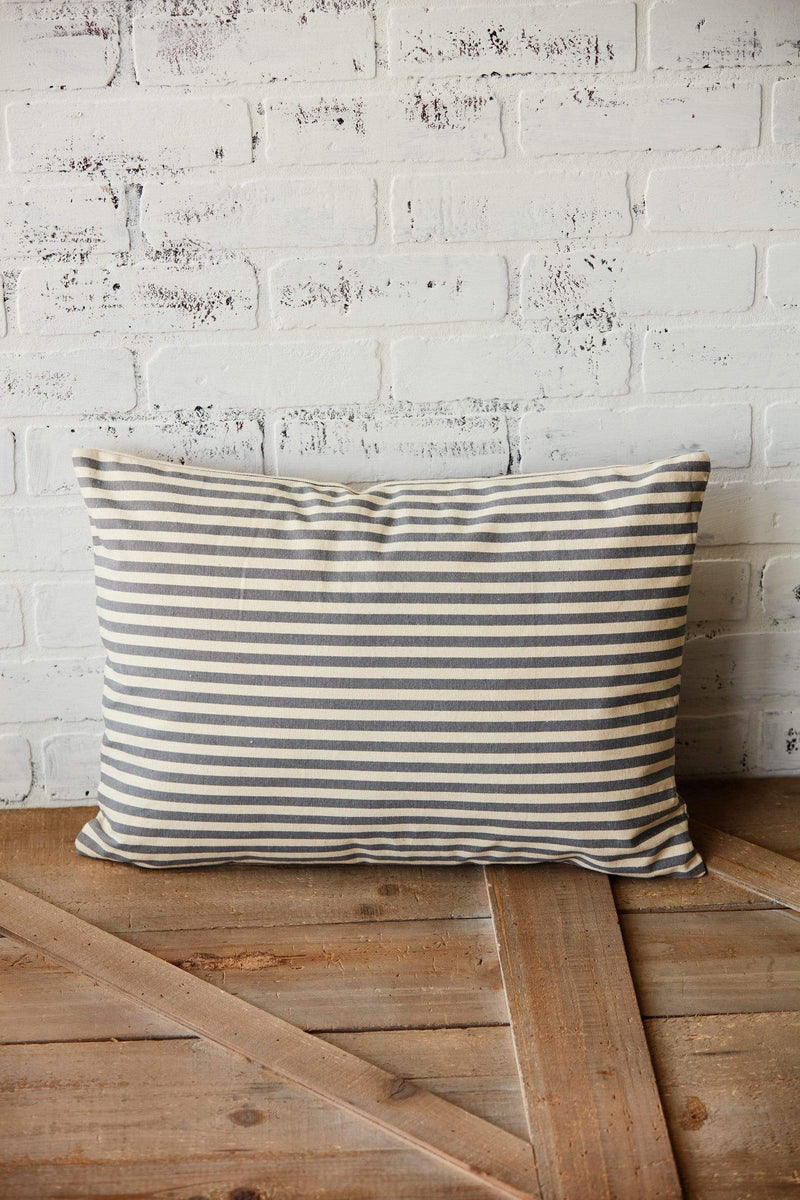 Gray Striped Lumbar Pillow