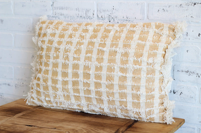 Mustard + Cream Fringe Lumbar Pillow