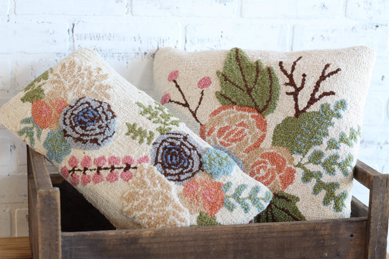 Floral Punch Needle Lumbar Pillow Multicolor Pastel