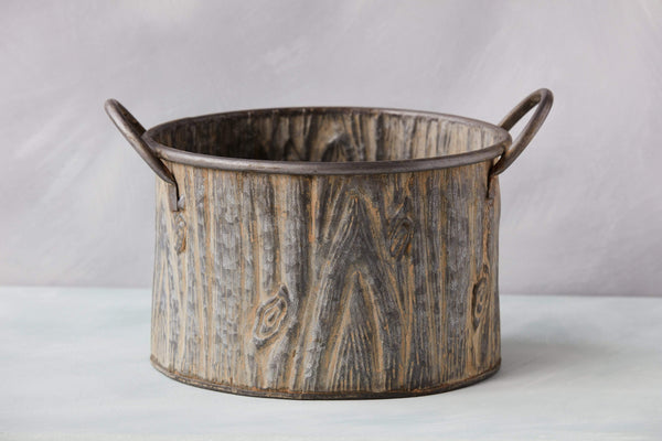 "9.5"" Wood Textured Galvanized Metal Bucket"