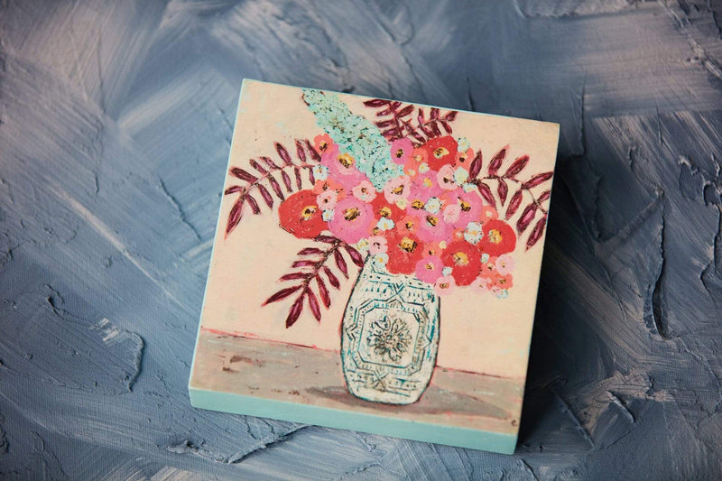 "6"" Wood Block Floral Art"